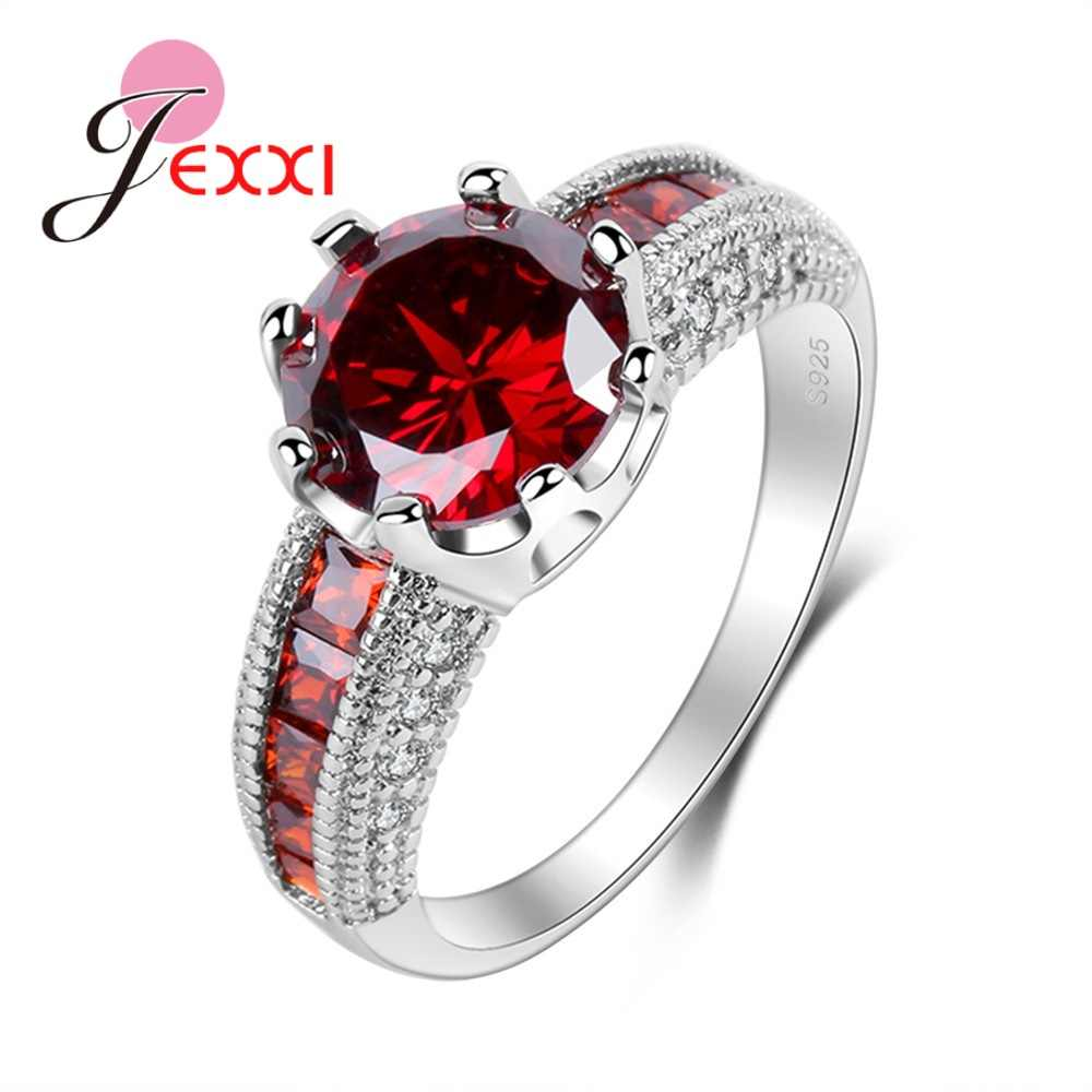 New Arrival Shinning Big Red Cubic Zirconia Great Elegant 925 Sterling Silver Rings Anniversary Party Ring For Women