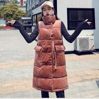 YTNMYOP Winter Velvet Vest Women Thick Warm Long Waistcoat Outerwear Female Sleeveless Long Jacket Coat Femme Gilet