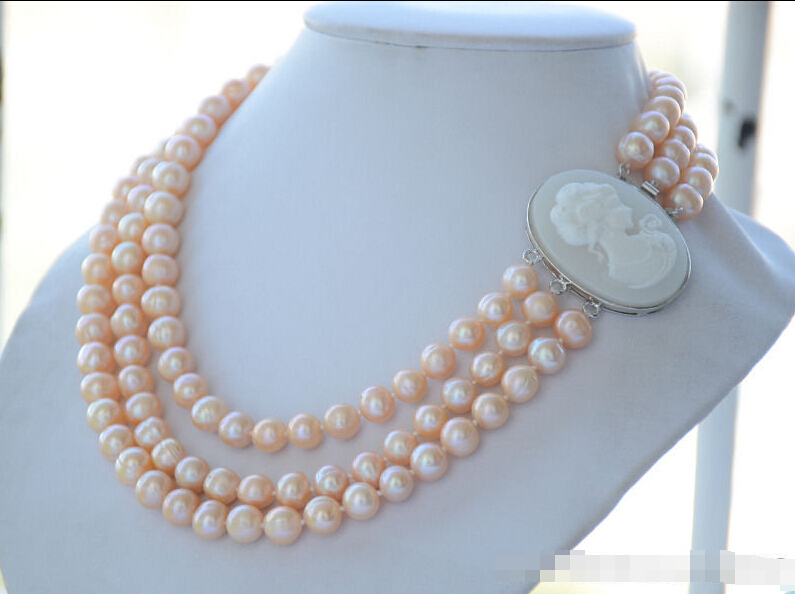 Fast SHIPPING * Z6331 3strands 10mm pink round freshwater cultured pearl necklace 19inch NEW
