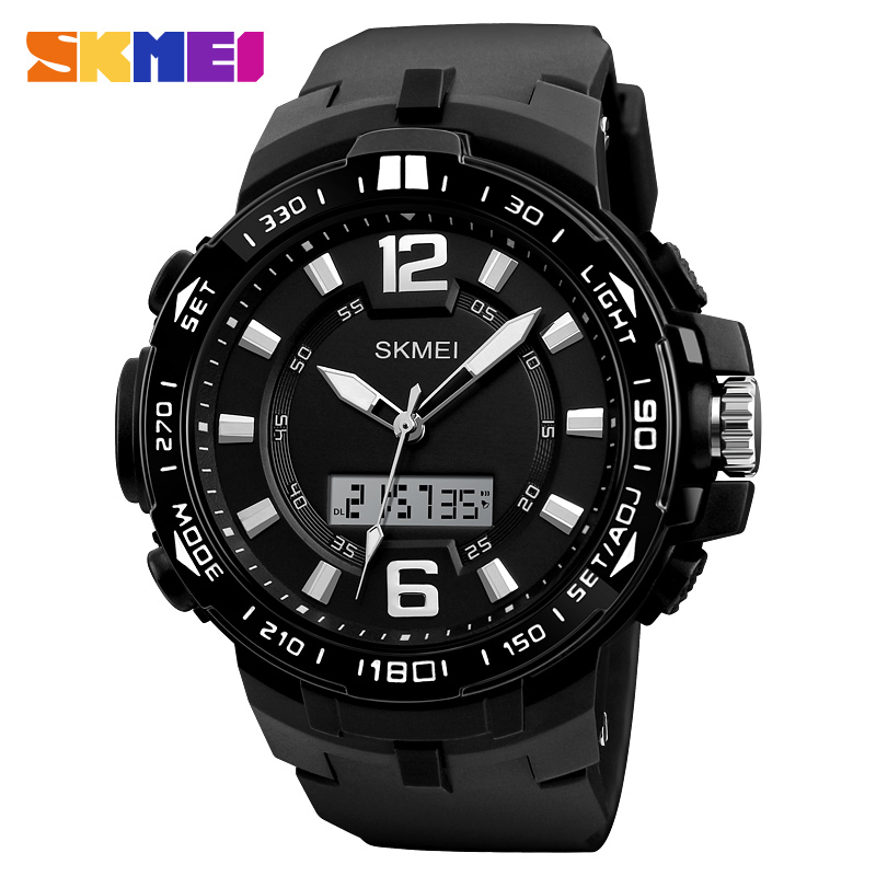 SKMEI Big Dial Men Outdoor Sports Watches Man Quartz Digital Watch Dual Display Wristwatches Waterproof Relogio Masculino 1273 big blue white dial men s sports quartz watches men watch pu leather wristwatches for lover gift relogio masculino ll