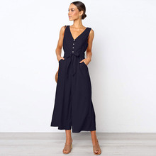 цена на Sexy V-neck Backless Women jumpsuit 2019 summer Solid Playsuit black rompers Fashion Runway Loose wide leg jumpsuit with Belt