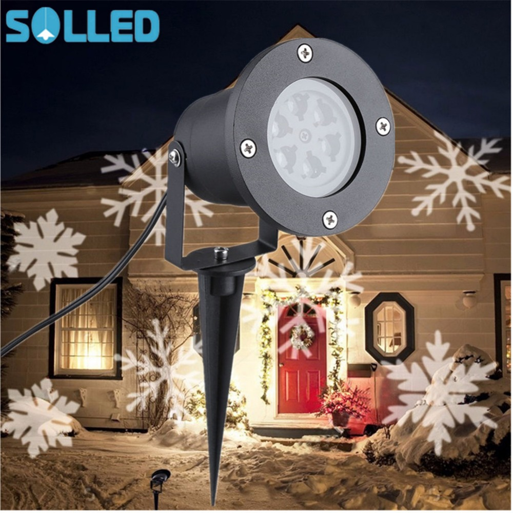 SOLLED Outdoor Snowflake LED Stage Light Garden Moving Snow Laser Projector For Christmas Party Decoration Landscape Lamp