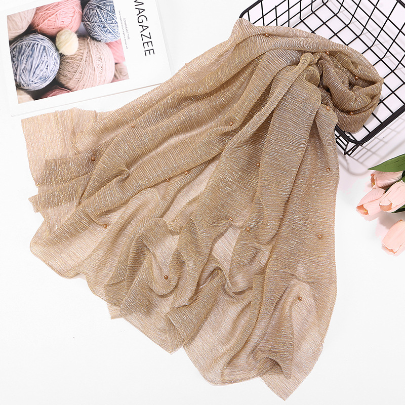 2019 Classic Plain Glitter Shimmer Hijab Scarf Women Pearl Pleated Crinkle Hijabs Lot Spring Summer Elastic Ladies Scarves Shawl