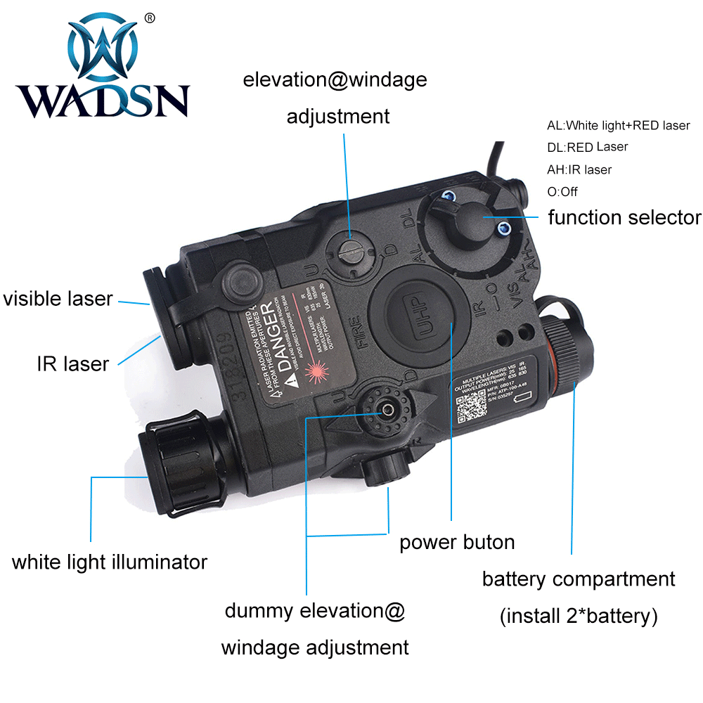 Image 3 - WADSN Airsoft LA 5 Red Lazer IR Laser LED Flashlight UHP Appearance IR laser PEQ 15 LA5C red lazer Tactical Weapon Light WEX396-in Weapon Lights from Sports & Entertainment