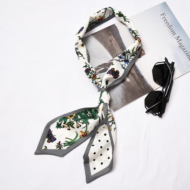 נשים קטן משי צעיף אופנה פרחוני פס בנדנה אופנתי בגימור צוואר ללבוש תיק קישוט חדש [1293]