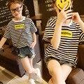 2016 Verano Nueva Muchacha de La Raya de Manga Corta Camisetas Marea Camisa ropa Para Niños Set Kids Sport Casual Adolescentes Tops