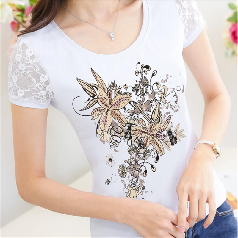 0d4cd59f4b US $14.96 |Floral diamond Camisetas Mujer 2019 Summer Tshirt Women Lace  Lady T Shirt Printing Womens T Shirts Woman XXXL top Vetement Femme-in ...