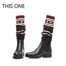 New Women Hot Sexy Over The Knee Boots Round Toe Slip On Elatsic Stretch Fabric Gingham Black Star Red Leather