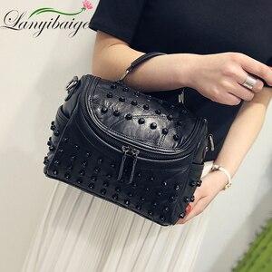 Image 3 - Fashion Women Messenger Bags Black Rivet Genuine Leather Shoulder Bag Sac a Main Crossbody Bags For Women Designer Handbags