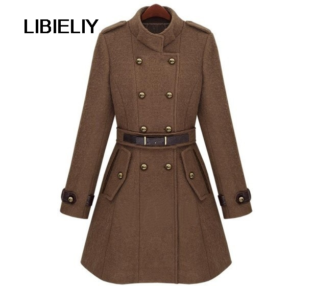 Fashion New Stylish Women Autumn Winter Woolen Stand Collared Coat Female  Brown Black White Overcoat Casacos Femininos 86099a1a3206
