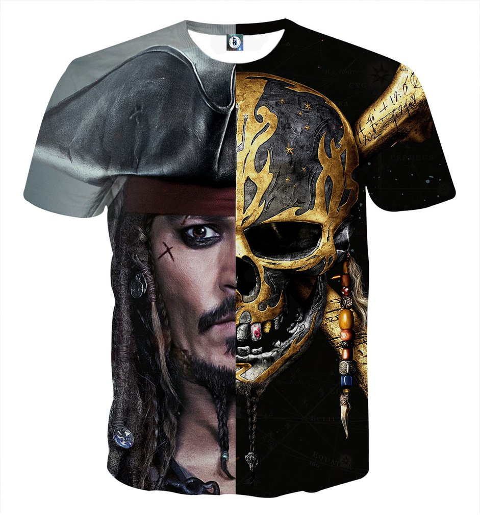 2018 new fashion Men Women cool 3d print the Pirate Captain of Jack Sleeve Summer Loose Leisure Streetwear clothing