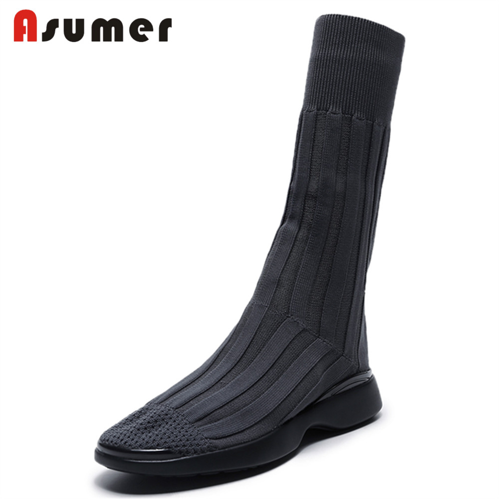 ASUMER 2018 NEW fashion knitting mid-calf boots women flat with round toe stocking boots ...