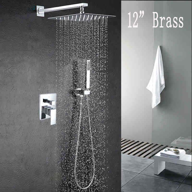 Wall Mount Shower Faucet Set 12 Rainfall Shower Head with Handheld Shower Chrome Polished