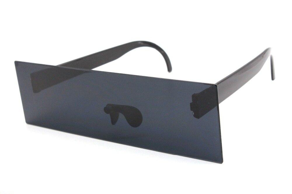 Womens Futuristic Oversize Rectangular Shield Robotic Sunglasses