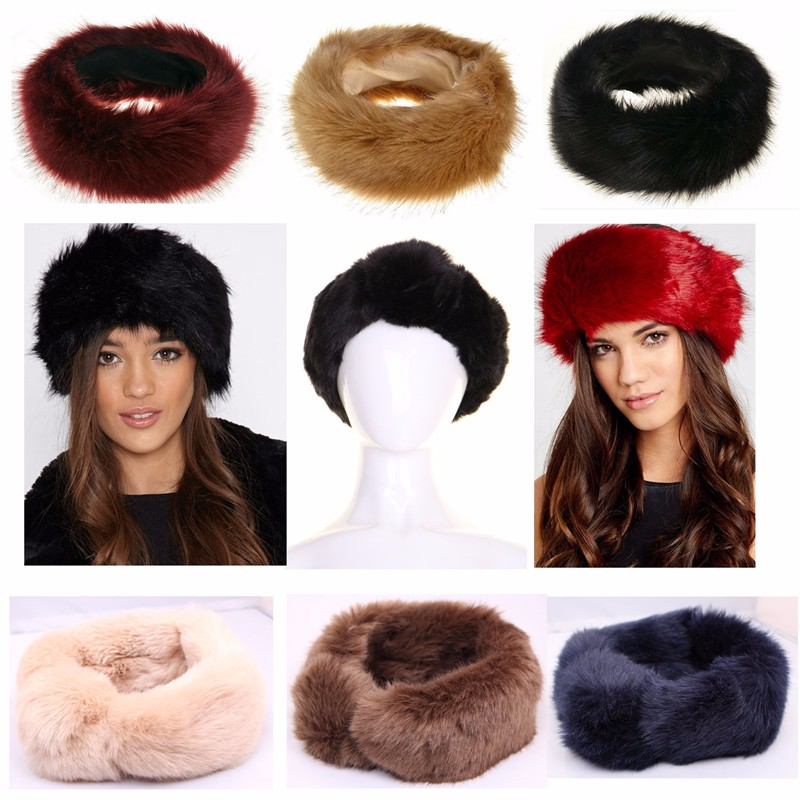 cf7efd02e24a Hot Unisex Large Thick Faux Fake Fur Headwear Euramerican Headband Winter  ear Warm Ski Hat Plush Head Hair Bands