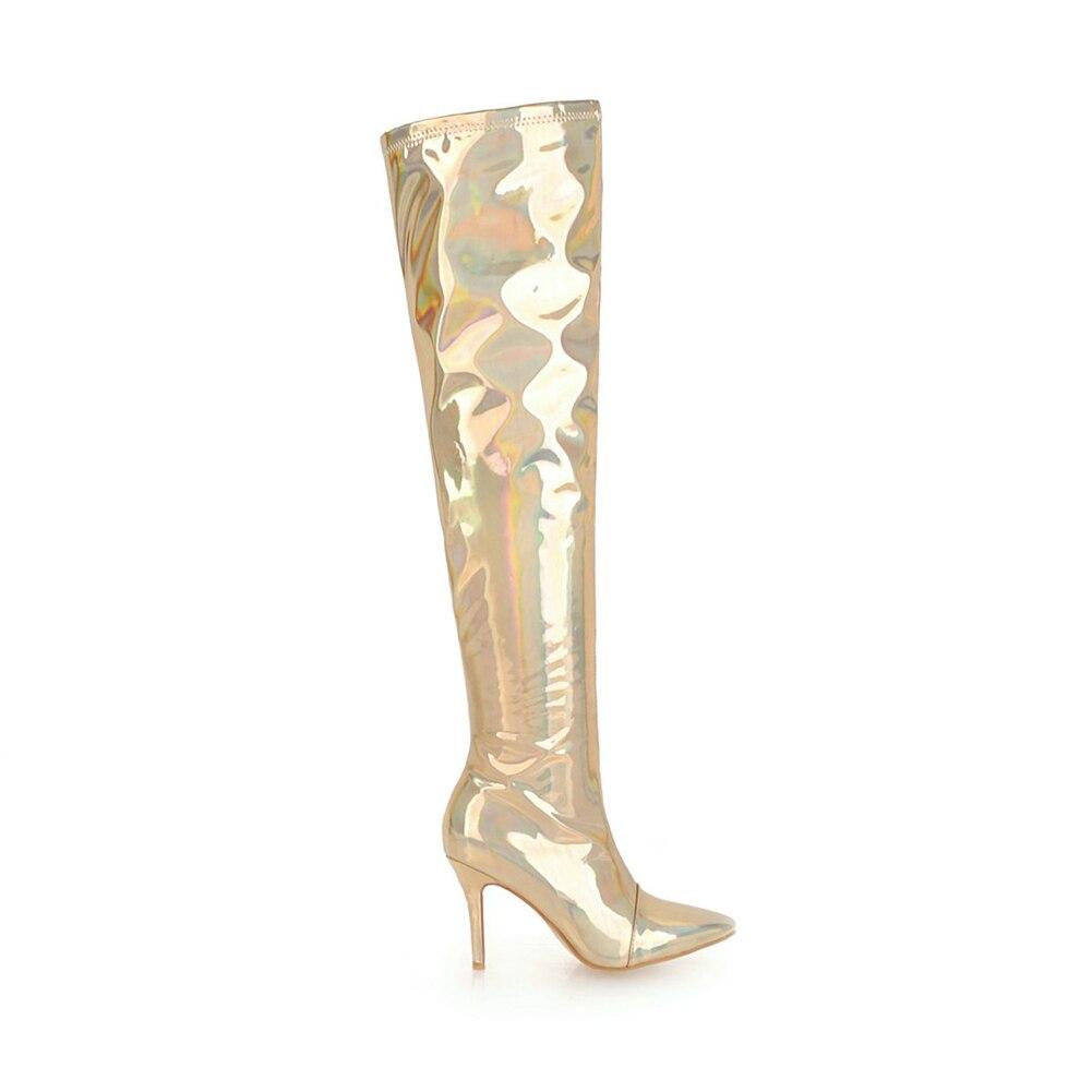 À Sexy Chaussures Marque Mince Bottes Gros Femmes 30 Or Grande Genou Taille Femme Talons Hiver Partie Nouveau 48 Sur argent Hauts De Doratasia Bal Le qAa6wxP