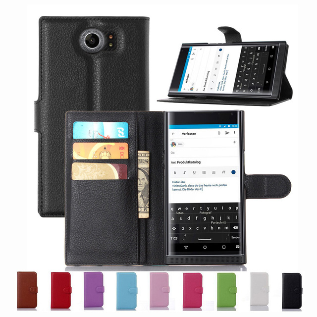 New Luxury Original PU Leather Case For Blackberry PRIV BB Priv Venice Flip Shell Back Cover With Card Holder Stander