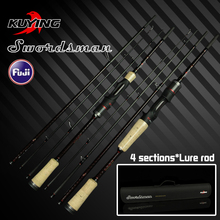 KUYING Swordsman 1.98m 2.07m Carbon Pocket Mini Travel Casting Spinning Lure Fishing Rod Cane FUJI Parts Fast Action 4 Sections