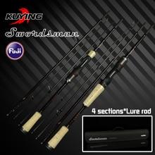 KUYING Swordsman 1.98m 2.07m Carbon Pocket Mini Travel Casting Spinning Lure Fishing Rod FUJI Parts Fast Action Free Shipping