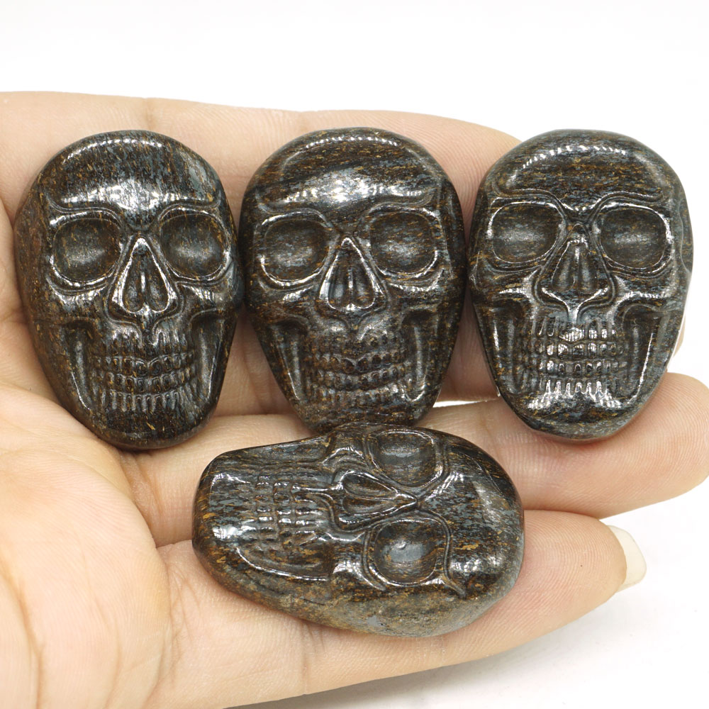 1 37 quot Natural Gemstone Bronzite Carved Stone Skull Cab Cabochon Figurine Statue 1 Piece in Statues amp Sculptures from Home amp Garden