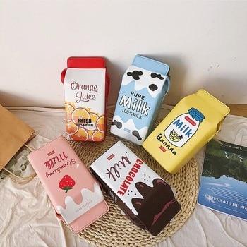 Cartoon Printing Fruit Milk Banana Strawberry Women Shoulder Bags Mini Phone Wallet Small Pu Leather Female Crossbody