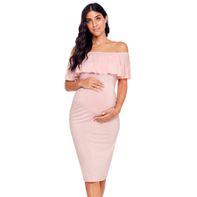 Women's Ruffle Off Shoulder Maternity Dress Women Dress Ruffles Pregnancy Clothes Ruched Sides Knee Length Bodycon Dresses