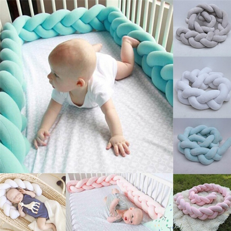 New 1M /2M Baby Colorful Soft Knot Pillow Braided Crib Bumper Decorative Bedding Cushion Knot Pillow Beanies Kids Christmas Gift