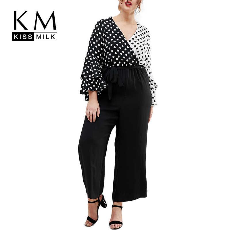 283f109a02e33 Kissmilk Plus Size Color Block Polka Dot Flare Sleeve Blouse Contrast Long  sleeve V Neck Shirts