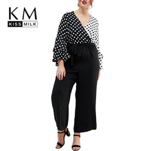 Kissmilk Plus Size Color Block Polka Dot Flare Sleeve Blouse Contrast Long sleeve V Neck Shirts 2018 New Fashion Women Blouse