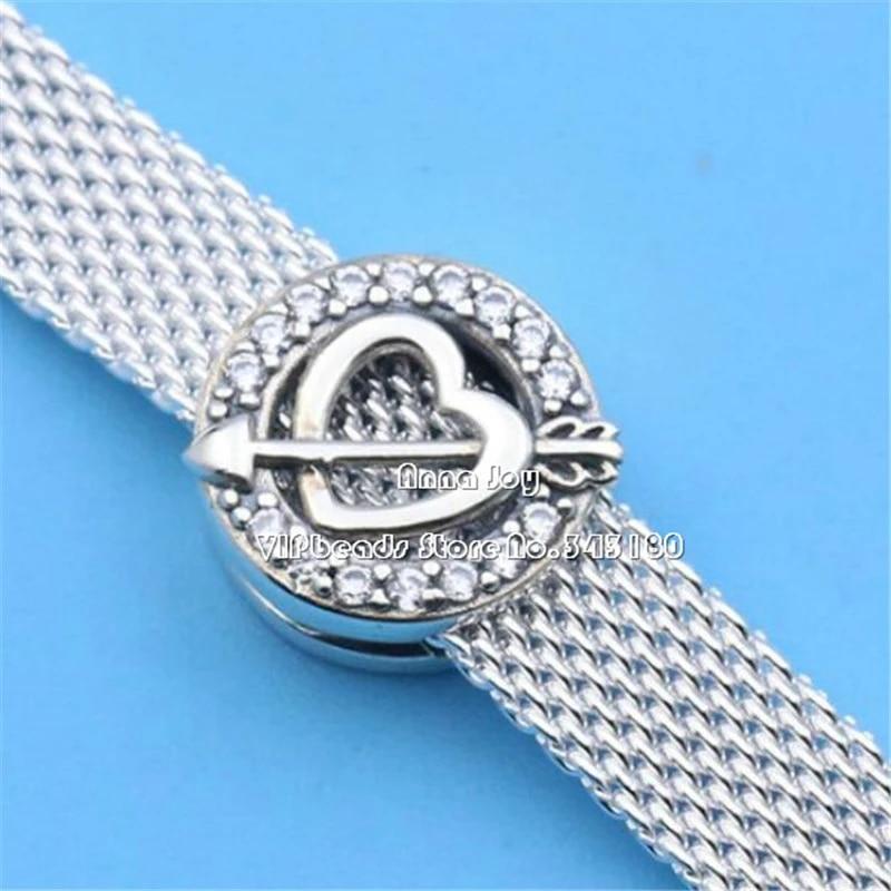 Alissa Reflexions S925 Silver Asymmetric Heart & Arrow Clip Charm Fits  Original Pandora Reflexions Bracelets DIY Jewelry