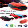 QFX Mini Bluetooth Speaker Portable Rugby Football Style Bass Stereo Wireless Outdoor Car Handfree HIFI With FM USB Micro TF AUX