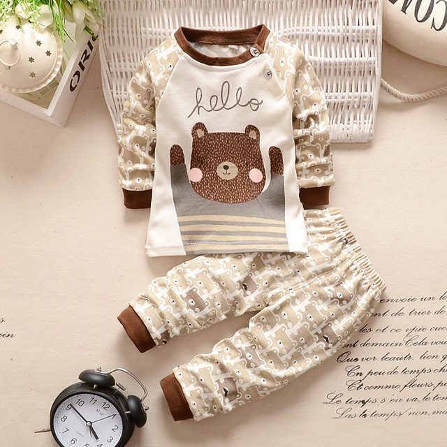 Baby Clothes Cotton Clothing Sets Cartoon Long-sleeved T-shirt+Pants Infant Clothes 2pcs