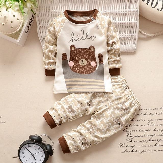 Novo 2019 Baby Boy Roupas de Algodão Conjuntos de Roupas de Bebê Menina Dos Desenhos Animados Longo-sleeved T-shirt + Calças Infantil roupas 2 pcs Terno