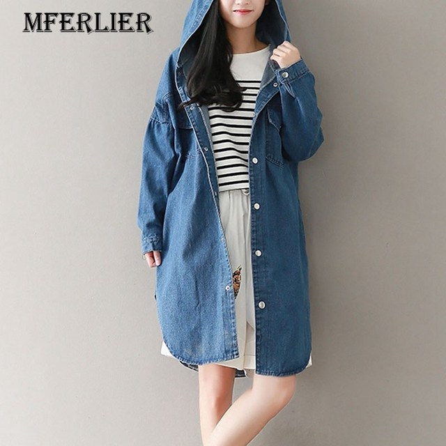 5a3fae916e7 Mferlier Mori Girl Autumn Long Jeans Trench Femme Hooded Long Sleeve Single  Breasted Split Hem Denim Trench Coat