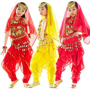 Children Belly Dance Costume Kids Indian Bollywood Performance Clothes Suit 3 Color Belly Dancing Stage & Dance Wear