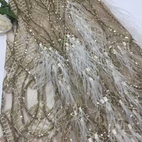 French Net Lace Fabric 2019 Latest Sequins lace fabric with Feather Handmade African Lace For Wedding Party dress AD542