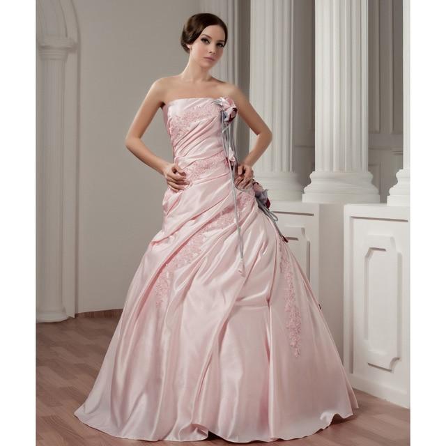 por encargo vestido de novia de satén rosa apliques rebordear