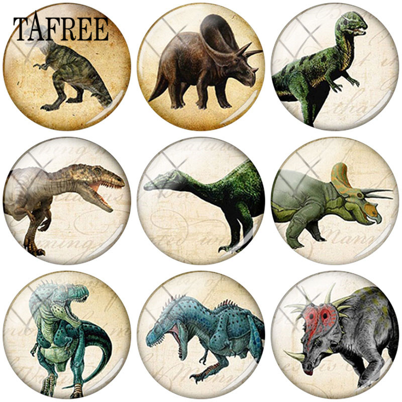 TAFREE 25mm DIY Glass Cabochon Dinosaur Art Picture Round Dome Jewelry Findings For Pendant Keychain Necklace in Jewelry Findings Components from Jewelry Accessories
