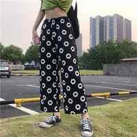 2019 mujeres Kawaii Chic Ins Pantalones Casual flor suelta Pantalones rectos Mujer lindo Japón Harajuku Buttom para mujer