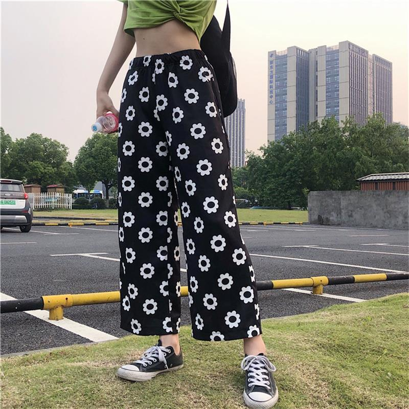 2020 Women's Kawaii Chic Ins Trousers Casual Flower Loose Straight Pants Female Cute Japan Harajuku Buttom For Women