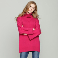 Double Thick High Collar Cashmere Sweater Female Loose Sweater Wild Heap Pile of rose Red Sweater