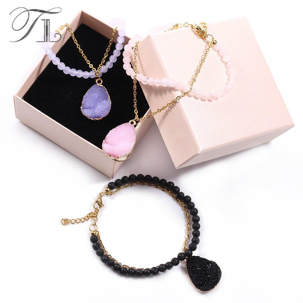 TL Fashion Bracelet Two Layer Chain Pink/Purple/Black Crystal Bracelet Made with Rose Crystal/Purple Carnelian/Lava Bracelets