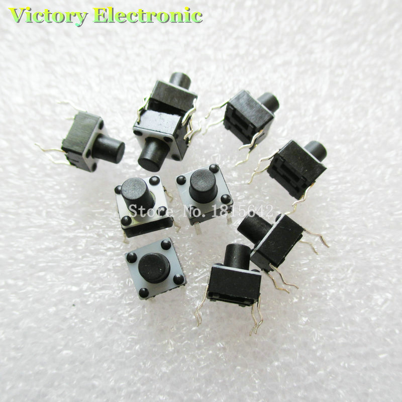 New 50PCS/Lot Tactile Push Button Switch Momentary Tact 6x6x7mm DIP Through-Hole 4pin Wholesale Electronic