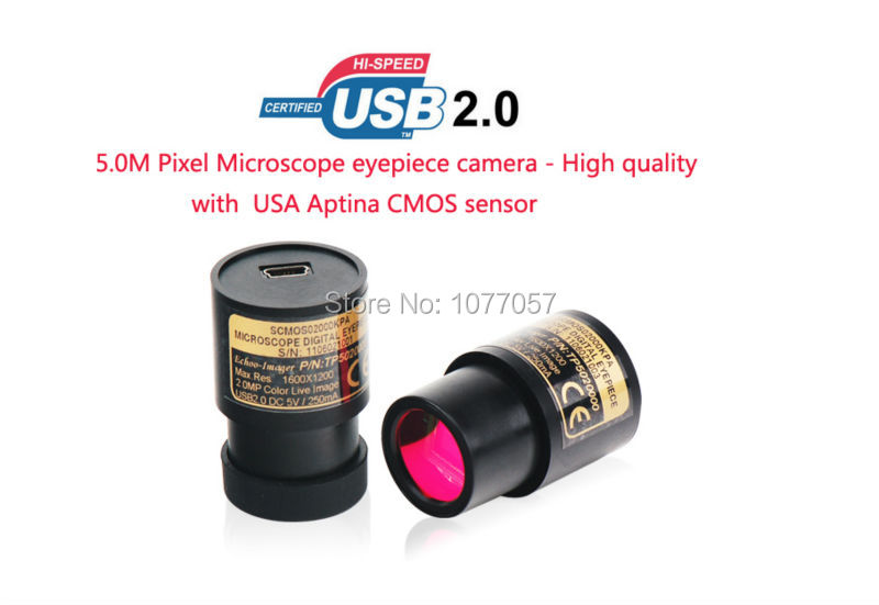 цены Best quality 5.0Mp USB2.0 Aptina CMOS Sensor Microscope digital eyepiece camera Professional microscope camera