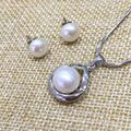fine jewelry pearls pendant necklace and stud earring set natural AAA flawless and shine semi mount with 925 sterling silver
