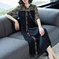 Kleid 2019 Frühjahr Neue Frauen Mode Spitze Patchwork Faux Zwei Stück Plus Größe Schwarz Miyake Falten Kleid für frauen gewicht 45-80 kg