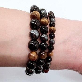 Bracelet Oeil De Tigre Hematite Obsidienne