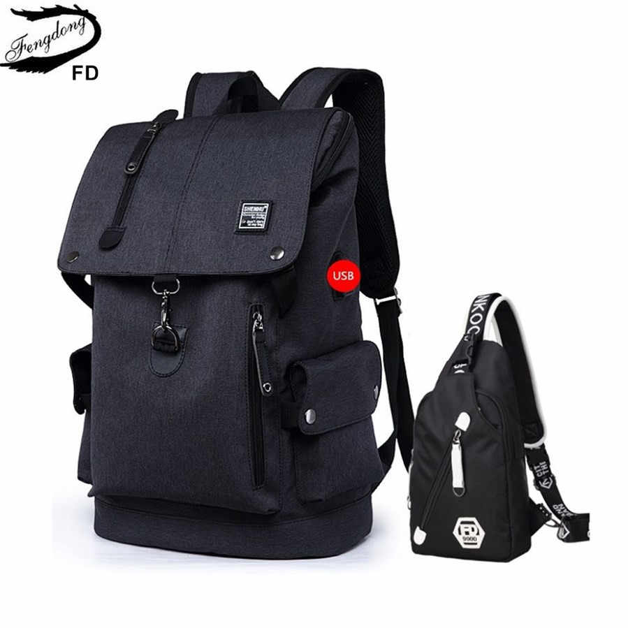 FengDong 2pcs big size black waterproof backpack men school bag set high school backpack for boy one shoulder sling chest bag
