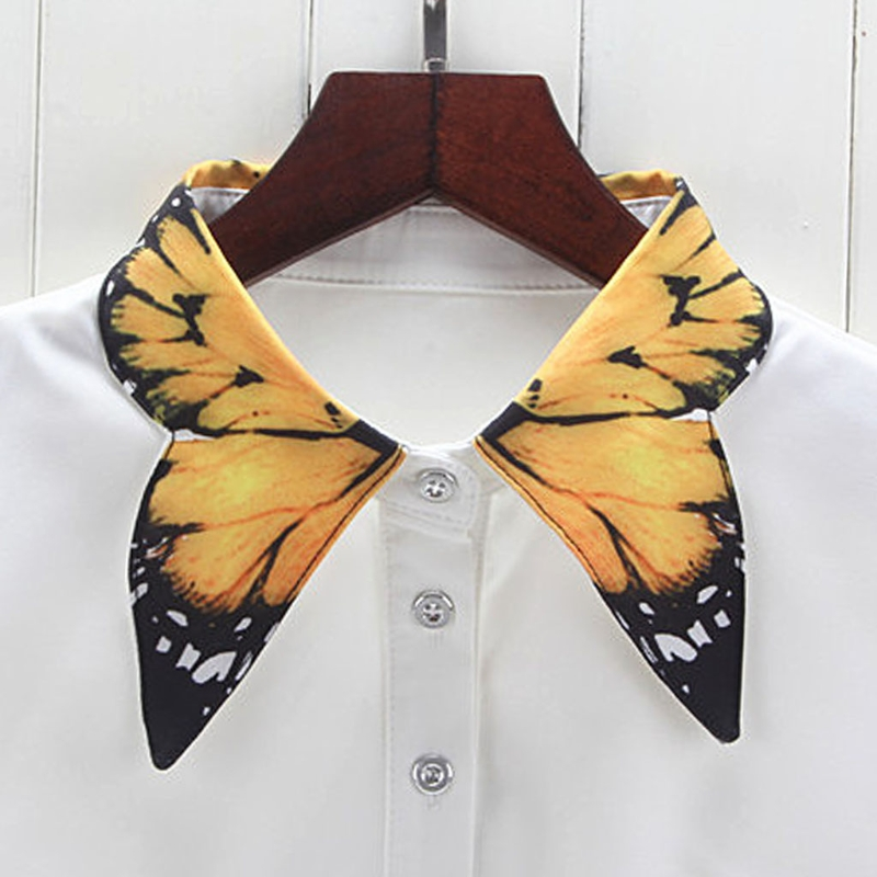 Women Pure Color Butterfly Printing Lapel Choker Necklace Shirt Fake False Collar W715
