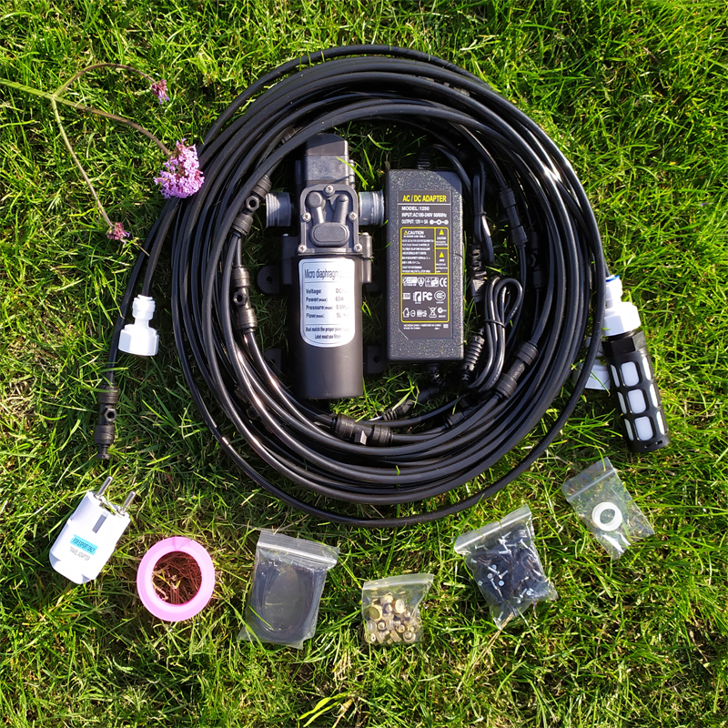F076 Outdoor Garden Misting Cooling System Water Kit System with 12V Finest Pump for Garden Greenhouse